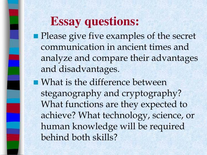 Essay questions:
