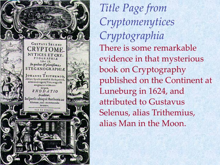 Title Page from Cryptomenytices Cryptographia