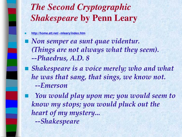 The Second Cryptographic Shakespeare