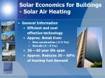 solar economics for buildings solar air heating