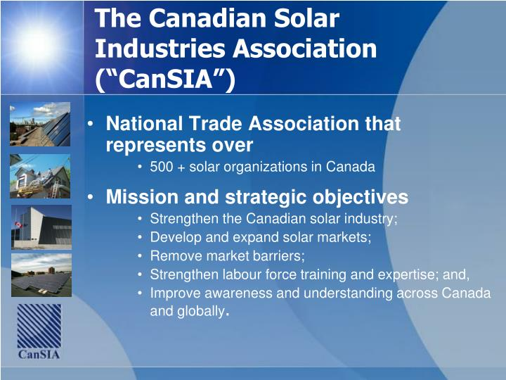 The canadian solar industries association cansia