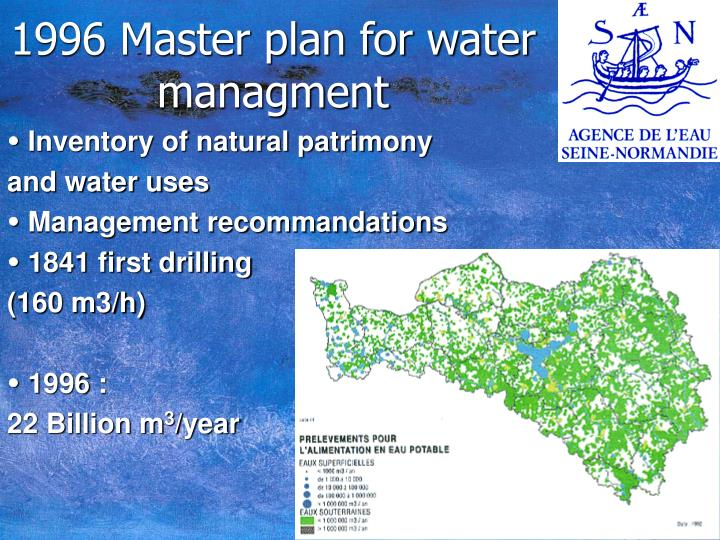 1996 Master plan for water managment