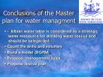 conclusions of the master plan for water managment