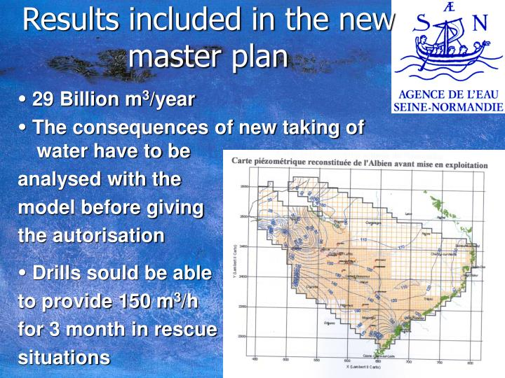 Results included in the new master plan