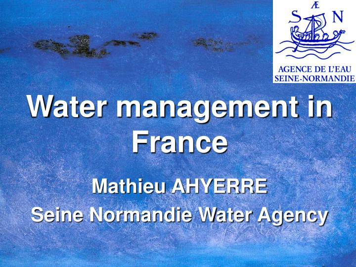 Water management in France