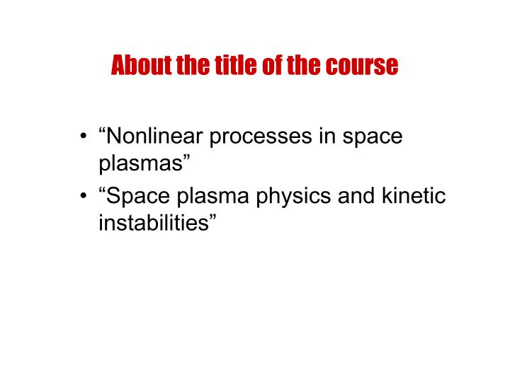 About the title of the course