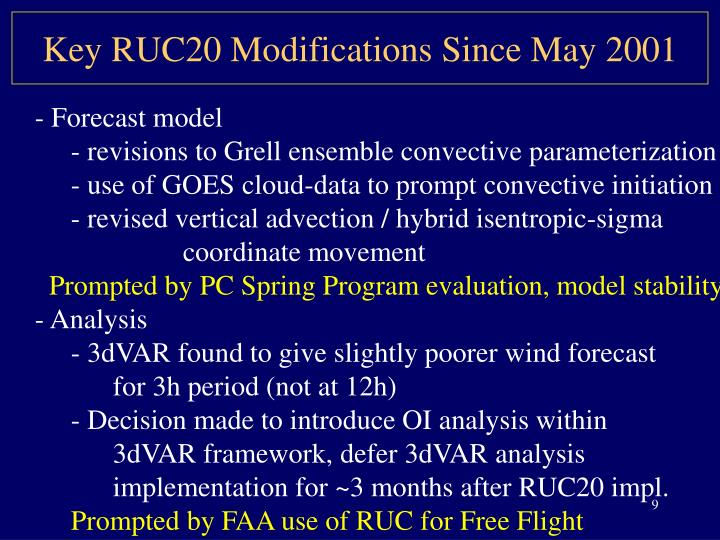 Key RUC20 Modifications Since May 2001