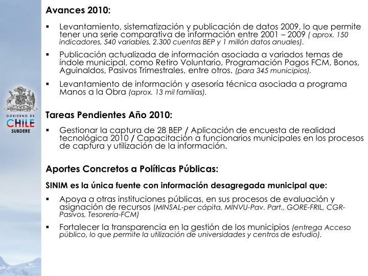 Avances 2010: