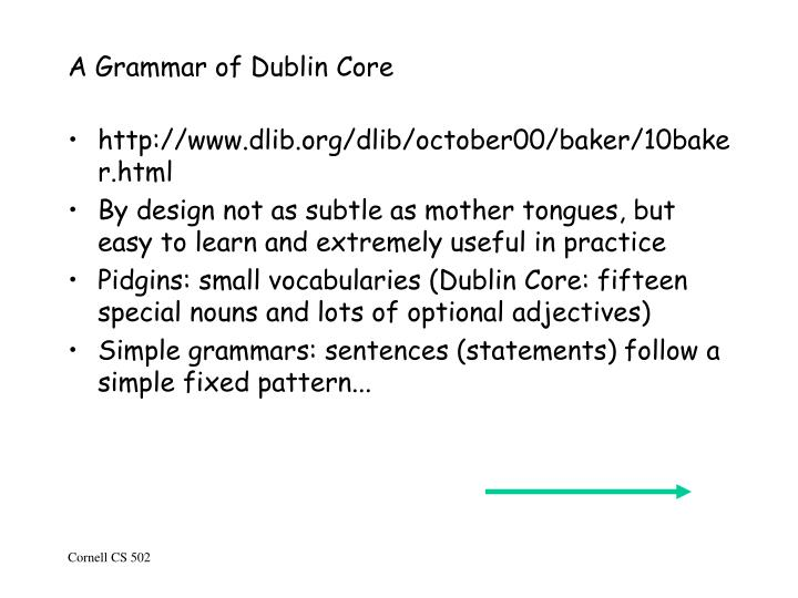 A Grammar of Dublin Core