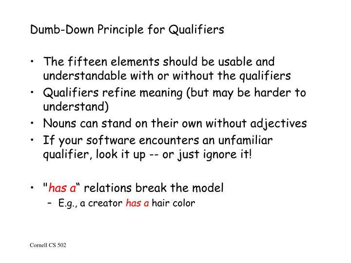 Dumb-Down Principle for Qualifiers