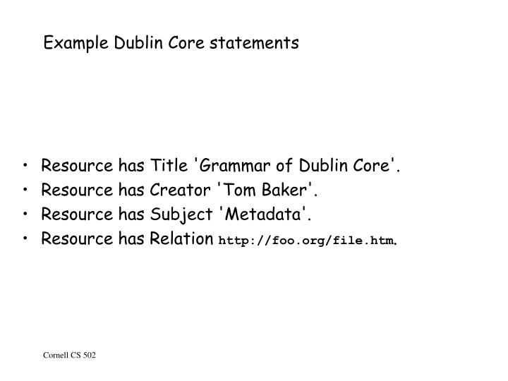 Example Dublin Core statements