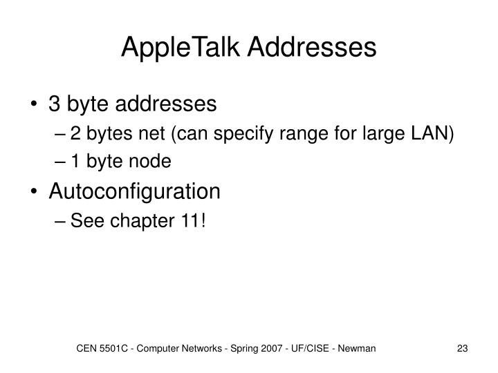 AppleTalk Addresses