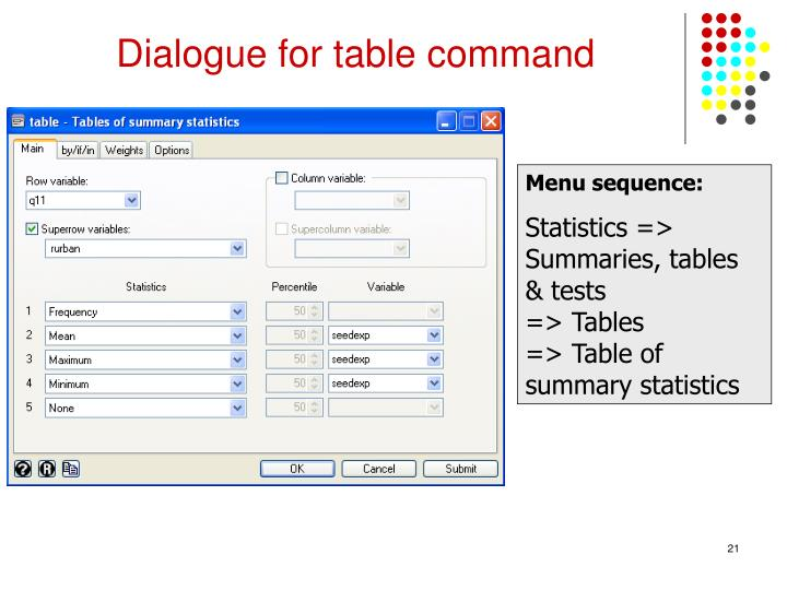 Dialogue for table command