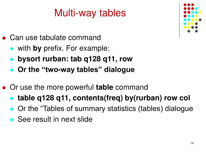 Multi-way tables