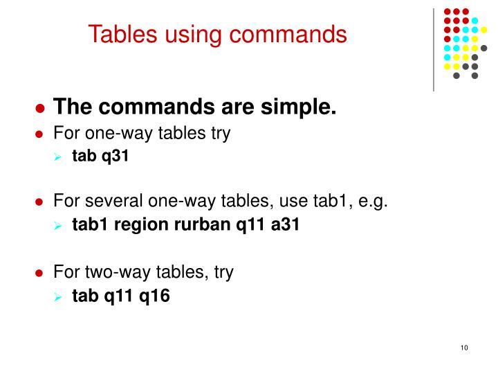 Tables using commands