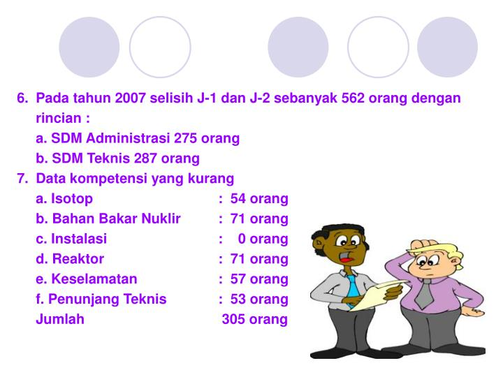 6.Pada tahun 2007 selisih J-1 dan J-2 sebanyak 562 orang dengan rincian :