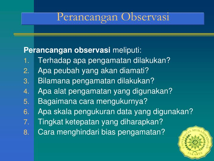 Perancangan Observasi