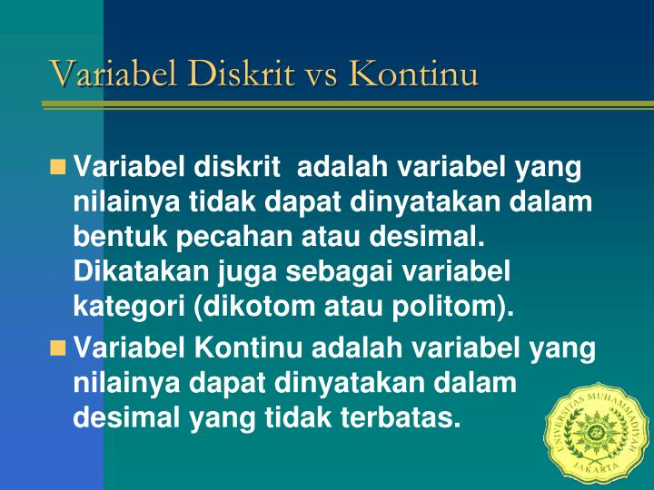 Variabel Diskrit vs Kontinu