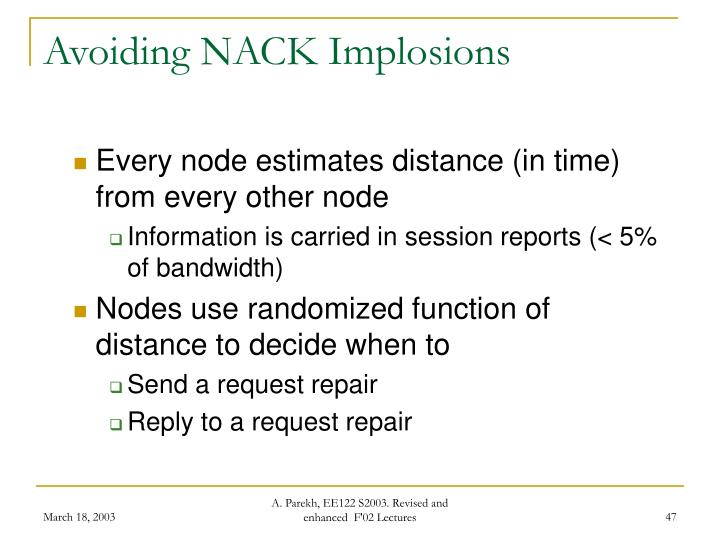 Avoiding NACK Implosions
