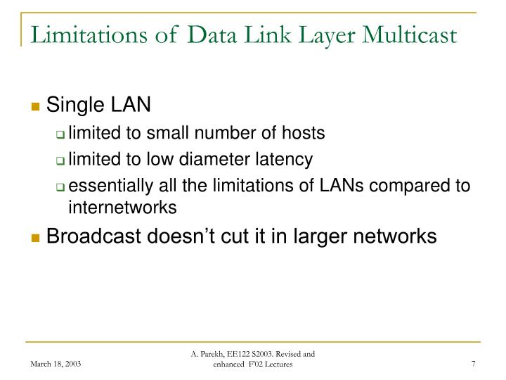 Limitations of Data Link Layer Multicast