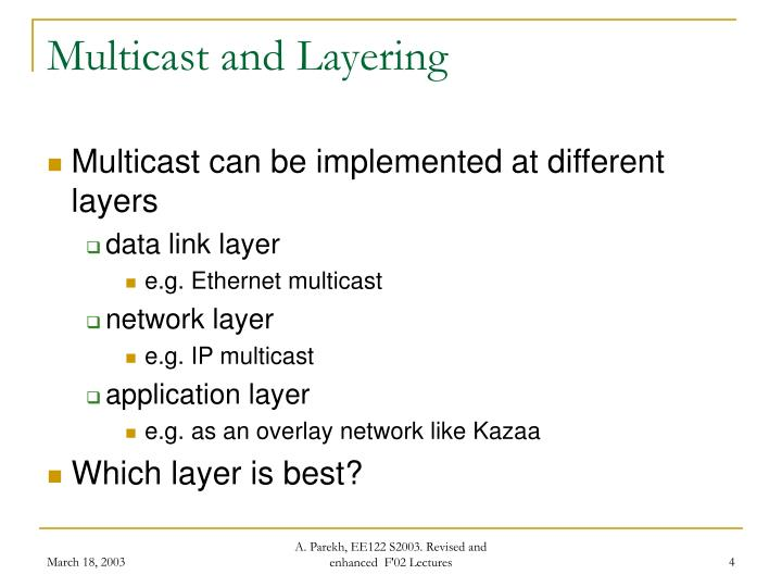 Multicast and Layering