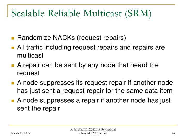 Scalable Reliable Multicast (SRM)