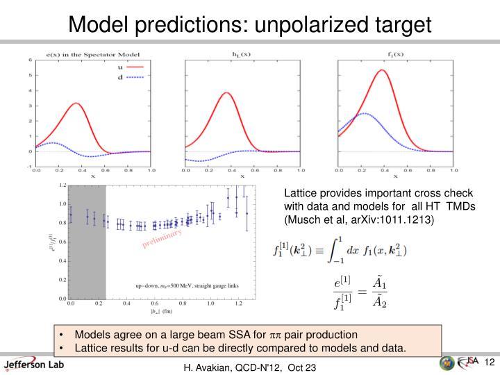 Model predictions: unpolarized target