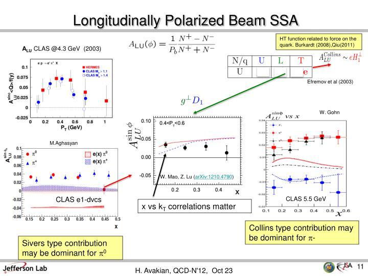 Longitudinally Polarized Beam SSA