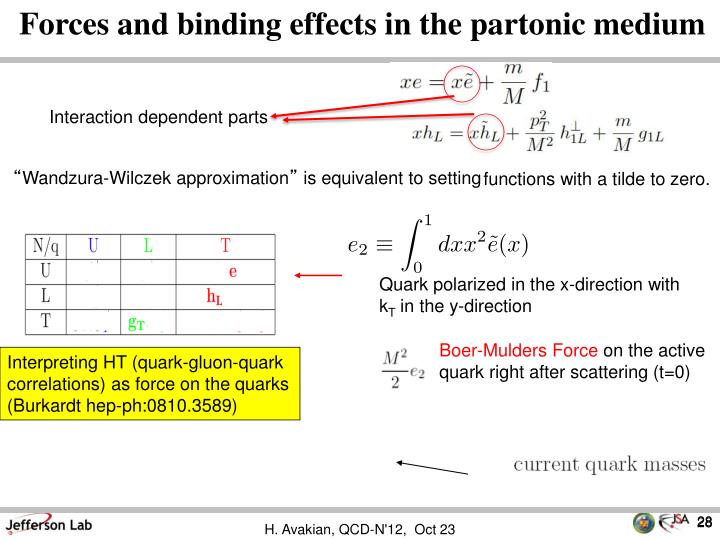 Forces and binding effects in the partonic medium