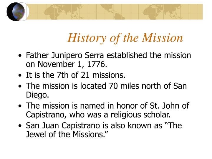 History of the Mission