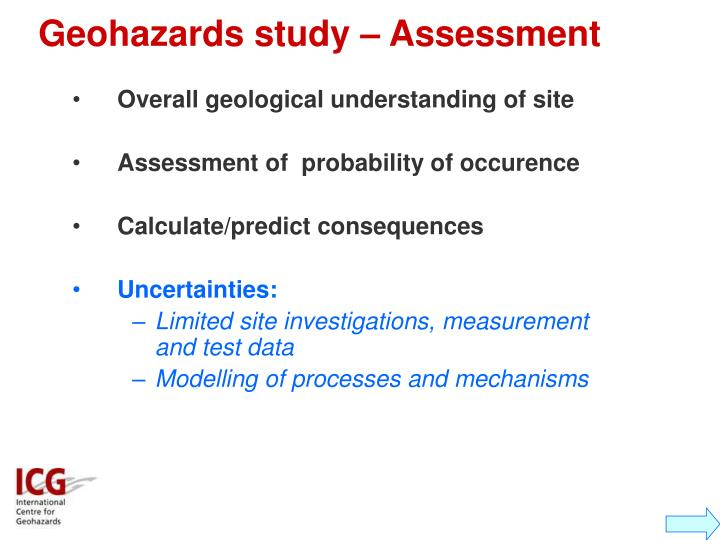 Geohazards study – Assessment