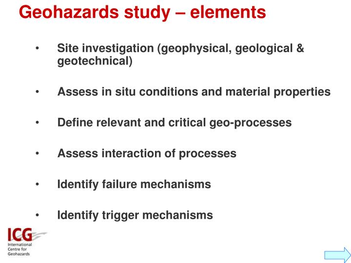 Geohazards study – elements