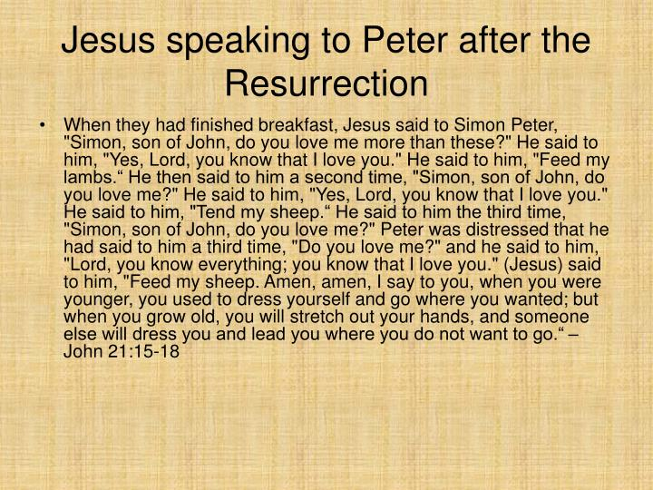Jesus speaking to Peter after the Resurrection
