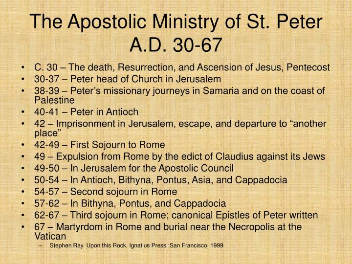 The Apostolic Ministry of St. Peter