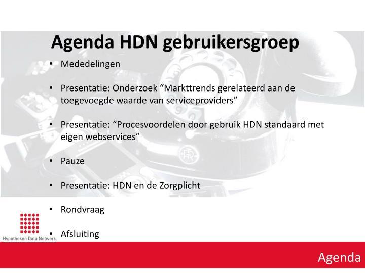 Agenda HDN gebruikersgroep