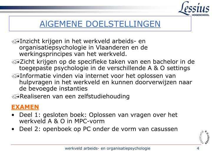 Inzicht krijgen in het werkveld arbeids- en organisatiepsychologie in Vlaanderen en de werkingsprincipes van het werkveld.