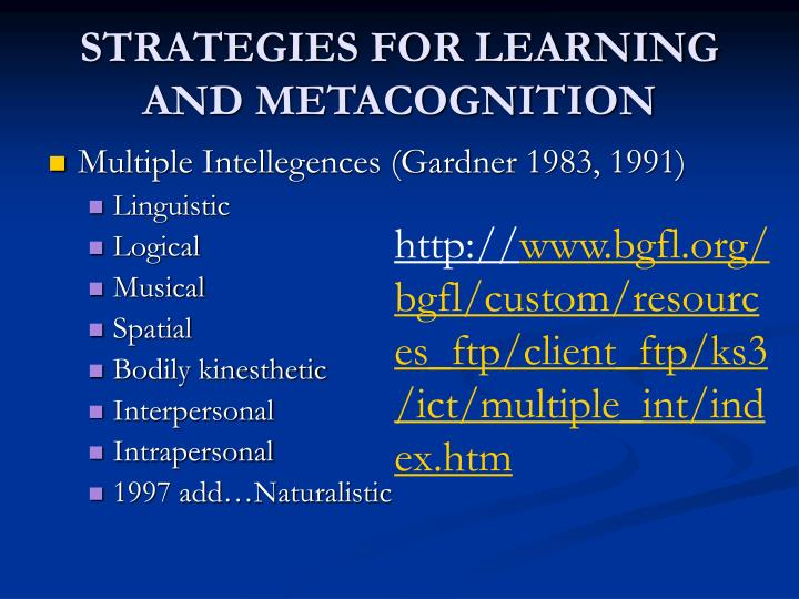 metacognition and transfer of learning Metacognitive strategies like these encourage people to be aware of their own thinking as they are learning how to increase learning transfer.