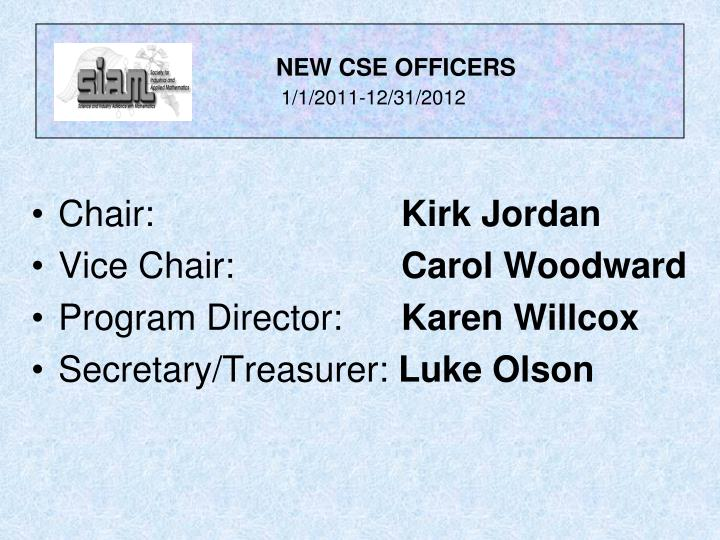 New cse officers 1 1 2011 12 31 2012