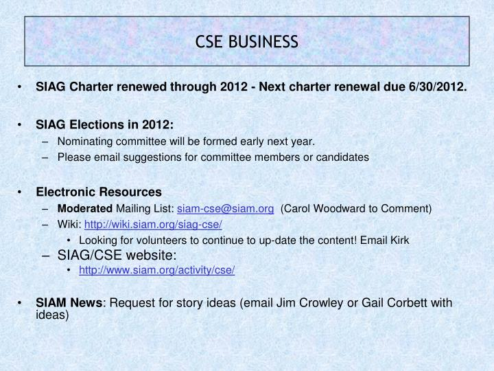 SIAG Charter renewed through 2012 - Next charter renewal due 6/30/2012.