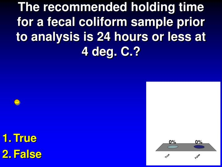 The recommended holding time for a fecal coliform sample prior to analysis is 24 hours or less at 4 deg. C.?