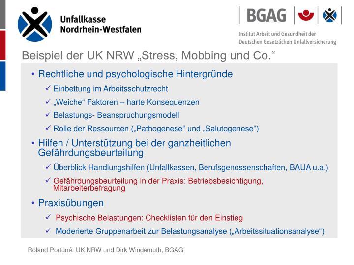 """Beispiel der UK NRW """"Stress, Mobbing und Co."""""""