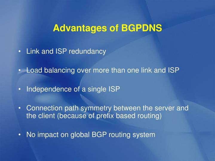 Advantages of BGPDNS