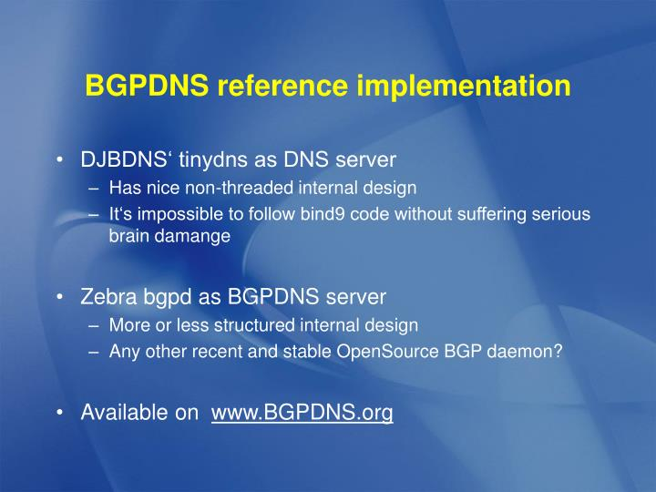 BGPDNS reference implementation