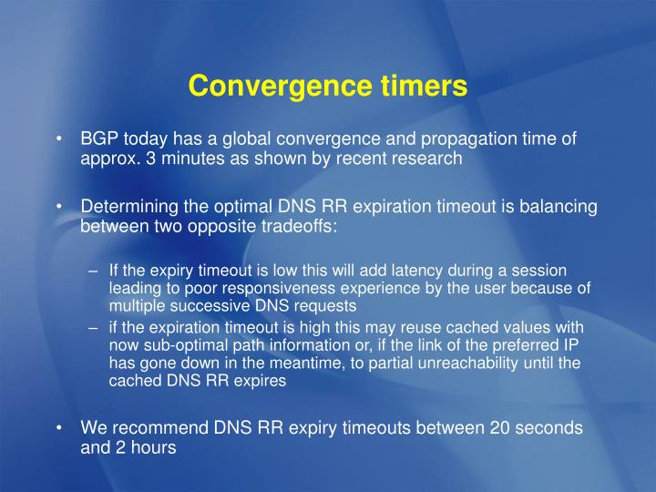 Convergence timers