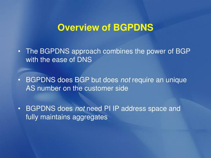 Overview of BGPDNS