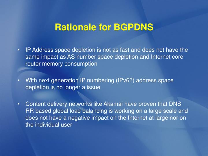 Rationale for BGPDNS