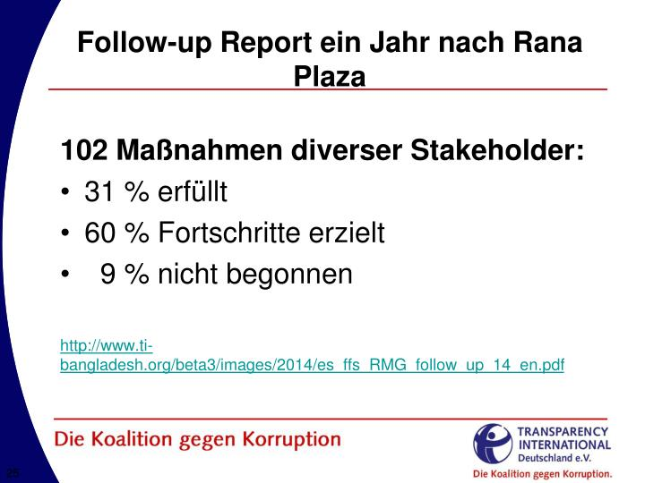 Follow-up Report ein Jahr nach Rana Plaza