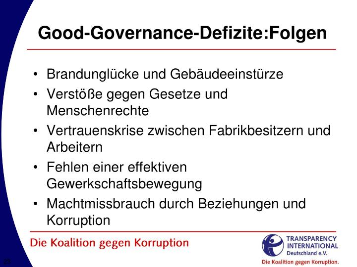 Good-Governance-Defizite:Folgen