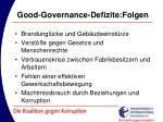 good governance defizite folgen