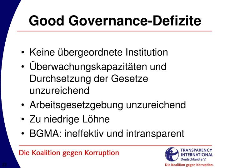 Good Governance-Defizite